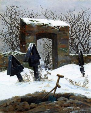 Oil Painting Reproduction of Friedrich- Graveyard under Snow