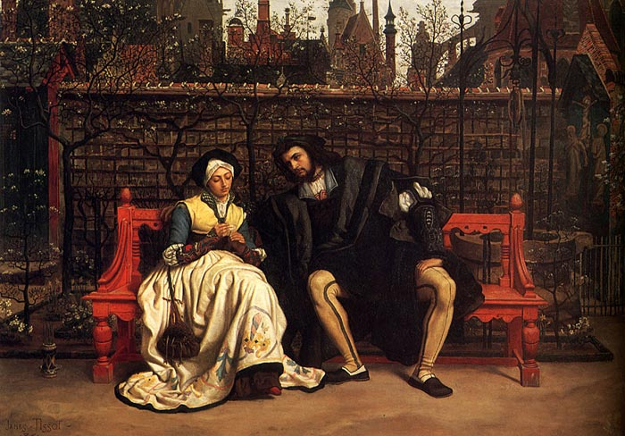 Oil Painting Reproduction of Tissot - Faust and Marguerite in the Garden