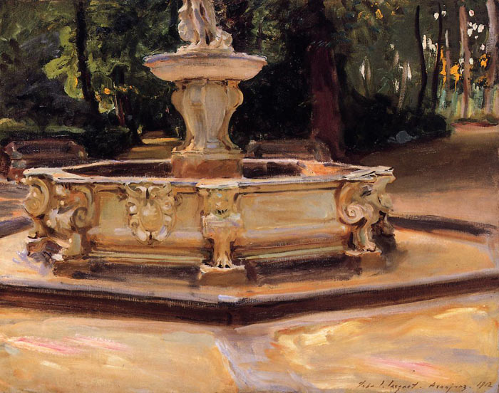 Oil Painting Reproduction of Sargent- A Marble Fountain at Aranjuez, Spain