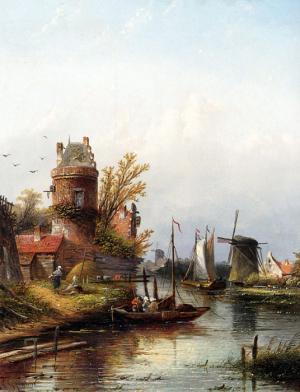Oil Painting Reproduction of Spohler- Vue De Buiksloot Pres dAmsterdam