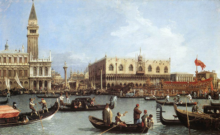 Oil Painting Reproduction of Canaletto - Return of the Bucentoro to the Molo on Ascension Day
