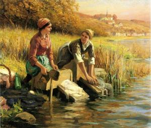 Oil Painting Reproduction of Knight- Women Washing Clothes by a Stream