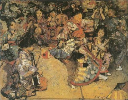 Japanese Dancing Girls painting, a Edward Atkinson Hornel paintings reproduction