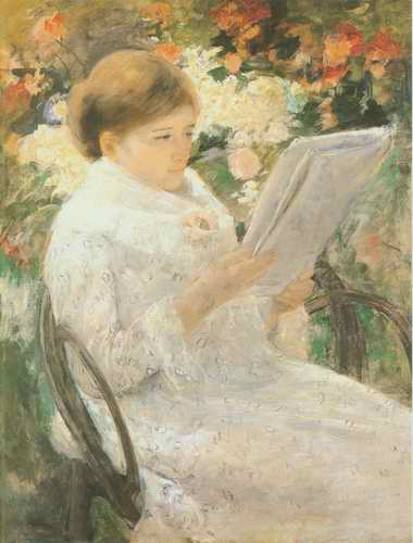 woman reading (Mary Cassatts sister) painting, a Mary Cassatt paintings reproduction, we never sell