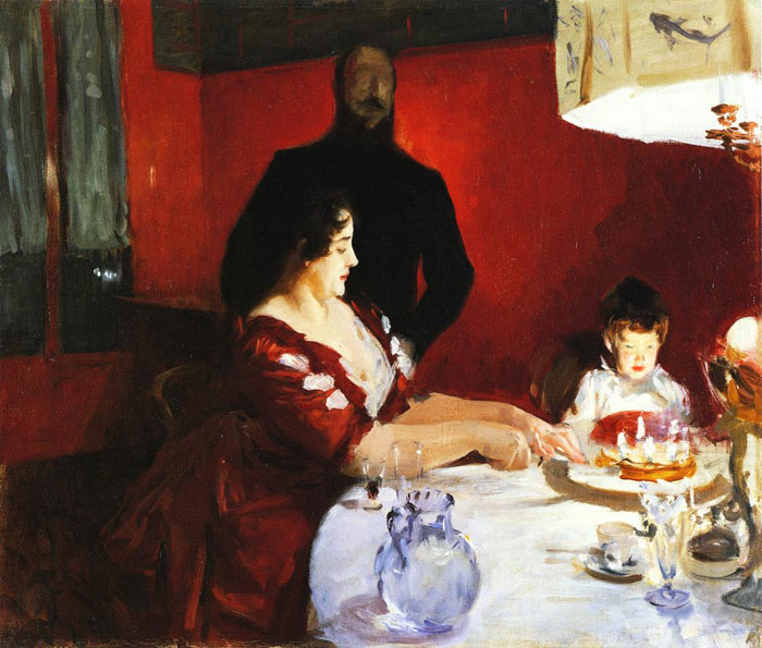 Oil Painting Reproduction of Sargent- Fete Famillale: The Birthday Party
