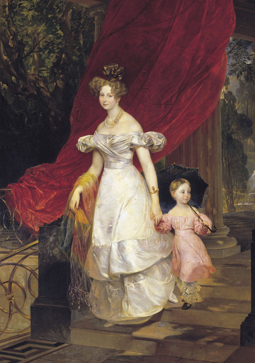 Oil Painting Reproduction of Brullov - Portrait of Grand Princess Elena Pavlovna and her Daughter
