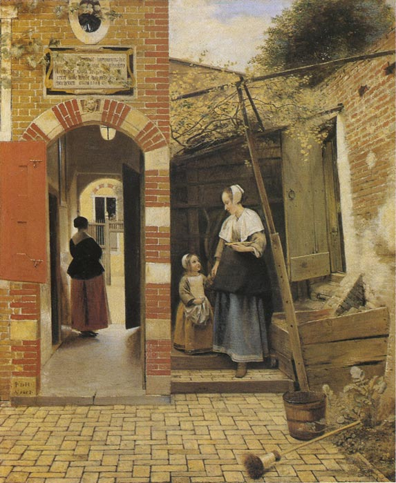 Oil Painting Reproduction of Hooch- The Courtyard of a House in Delft