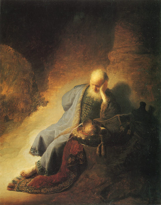 Oil Painting Reproduction of Rembrandt - The Prophet Jeremiah