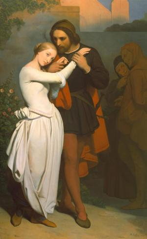 Oil Painting Reproduction of Scheffer- Faust and Marguerite in the Garden