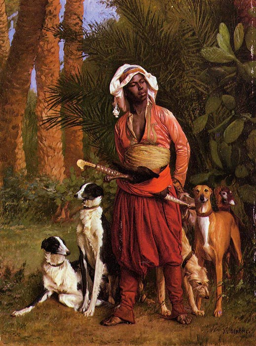 Gerome Oil Painting Reproductions - The Negro Master of the Hounds