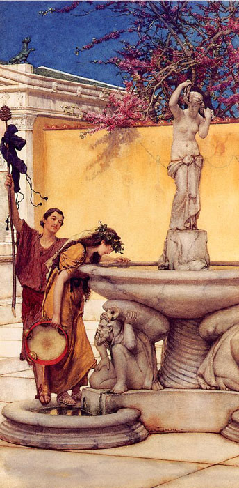 Alma-Tadema Oil Painting Reproductions - Between Venus and Bacchus