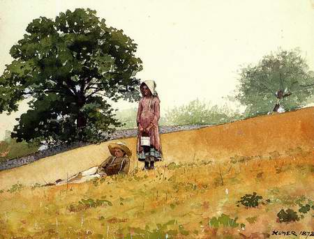 boy and girl at the hillside. painting, a Winslow homer paintings reproduction, we never sell boy