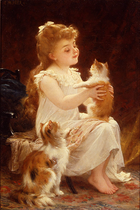 Emile Munier Oil Painting Reproductions- Playing with the Kitten