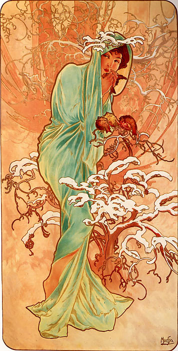 Oil Painting Reproduction of Mucha- Winter