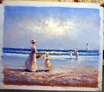 people on the beach painting, a unknown artist paintings reproduction, we never sell people on the