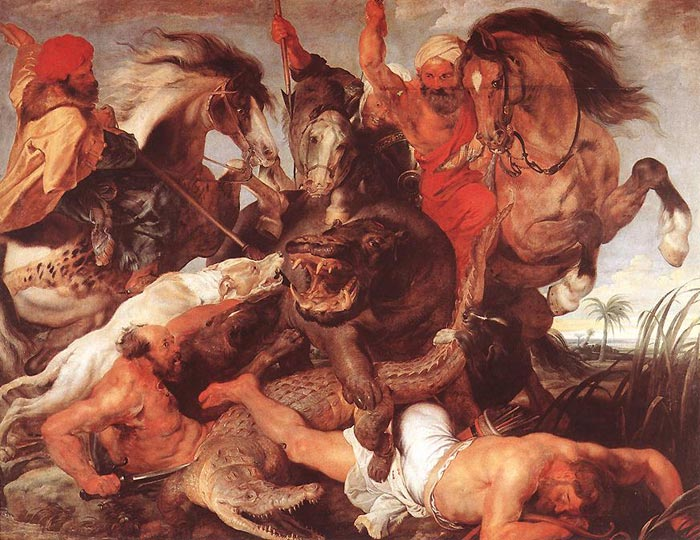 Oil Painting Reproduction of Rubens- Hippopotamus and Crocodile Hunt