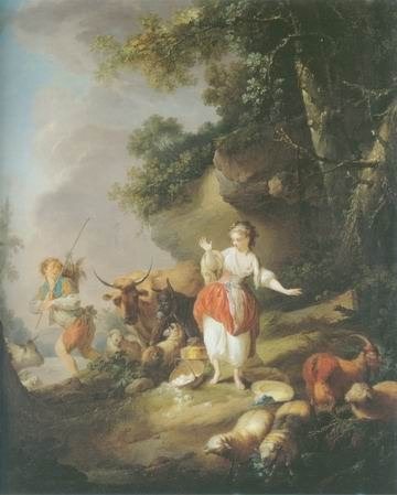 Shepherdess and a drover painting, a Jean Baptiste Huet paintings reproduction, we never sell