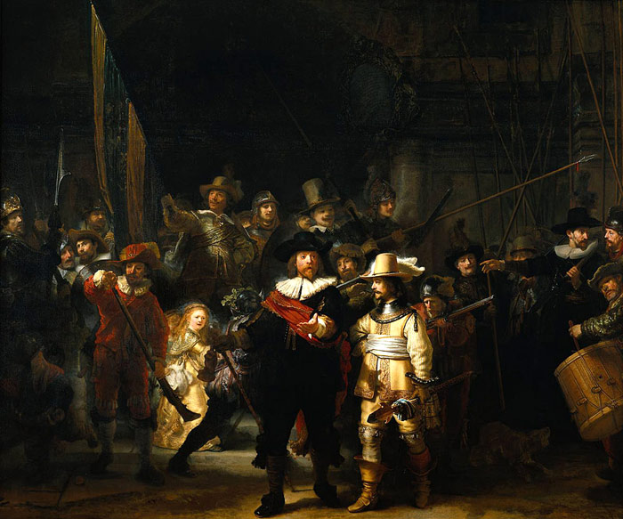 Oil Painting Reproduction of Rembrandt- The Company of Frans Banning Cocq and Willem van