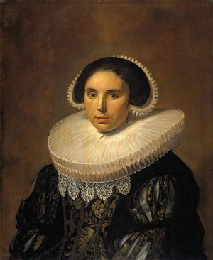 Hals Oil Painting Reproductions - Portrait of a woman possibly Sara Wolphaerts van Diemen