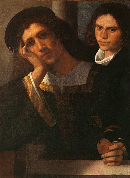 Giorgione Oil Painting Reproductions - Double Portrait (attributed to Giorgione)