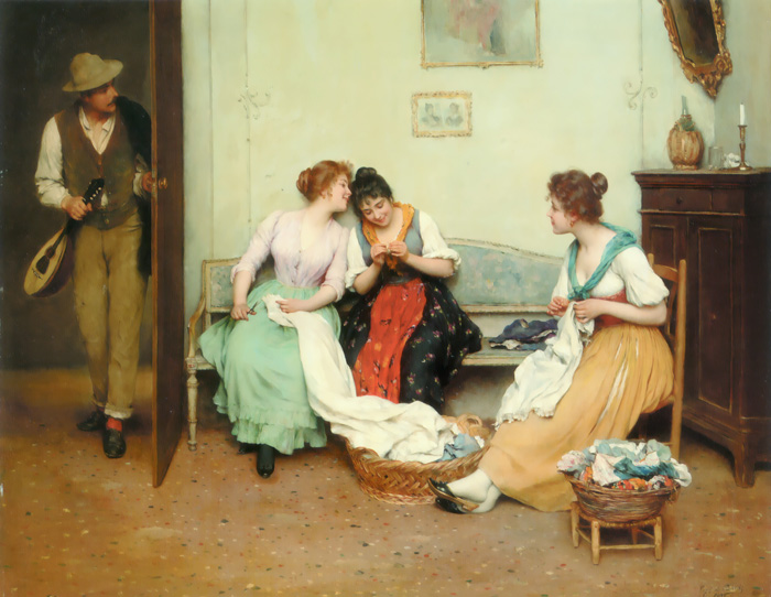 Blaas Oil Painting Reproductions-- The Friendly Gossips