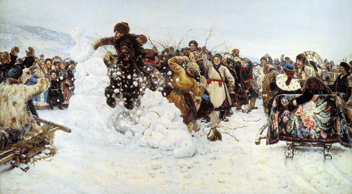 Oil Painting Reproduction of Surikov - Storm of Snow Fortress