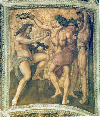 Apollo and Marsyas (ceiling panel) painting, a Raphael Santi paintings reproduction, we never sell