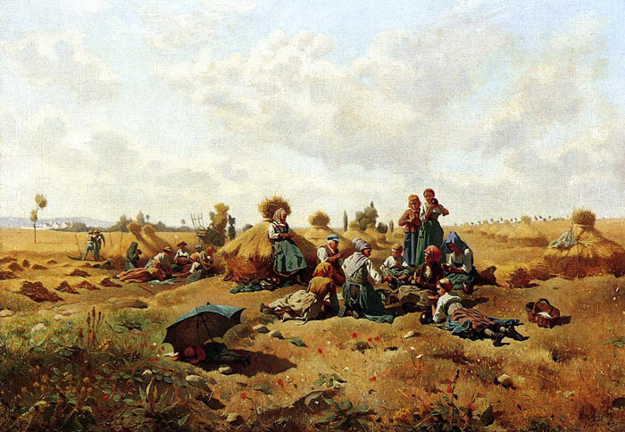 Knight Oil Painting Reproduction - Resting Harvesters