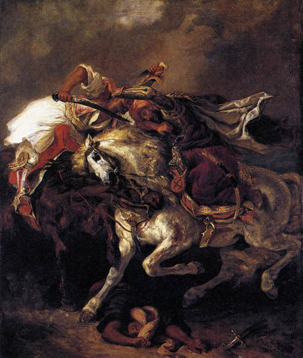 Oil Painting Reproduction of Delacroix- Combat of the Giaour and the Pasha