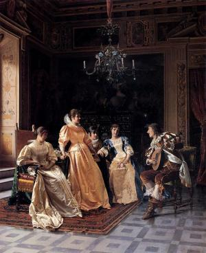 Oil Painting Reproduction of Reggianini- An Amusing Song