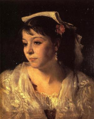 Oil Painting Reproduction of Sargent - Head of an Italian Woman