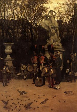 Oil Painting Reproduction of Tissot - Beating the Retreat in the Tuileries Gardens