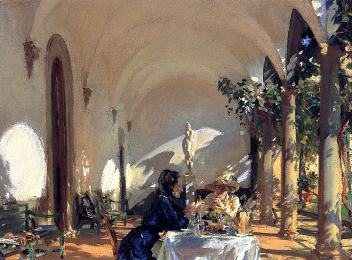 Sargent Oil Painting Reproductions - Breakfast in the Loggia