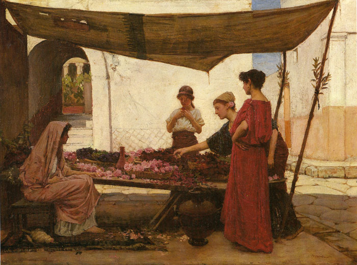 Waterhouse Oil Painting Reproductions - A Grecian Flower Market