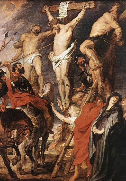 Oil Painting Reproduction of Rubens- Christ on the Cross between the Two Thieves
