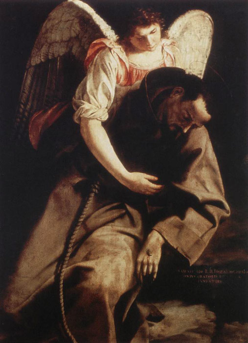 Oil Painting Reproduction of Gentileschi- St Francis and the Angel