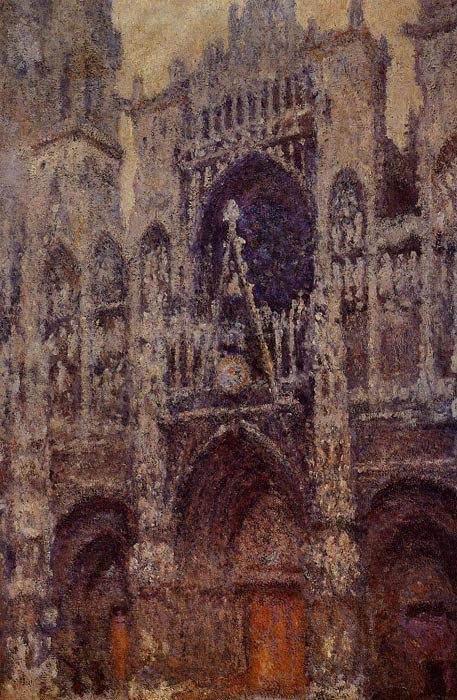 Oil Painting Reproduction of Monet- Rouen Cathedral the Portal Grey Weather