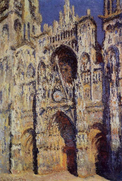 Oil Painting Reproduction of Monet- Rouen Cathedral the Portal and the Tour d Albane Full Sunlight