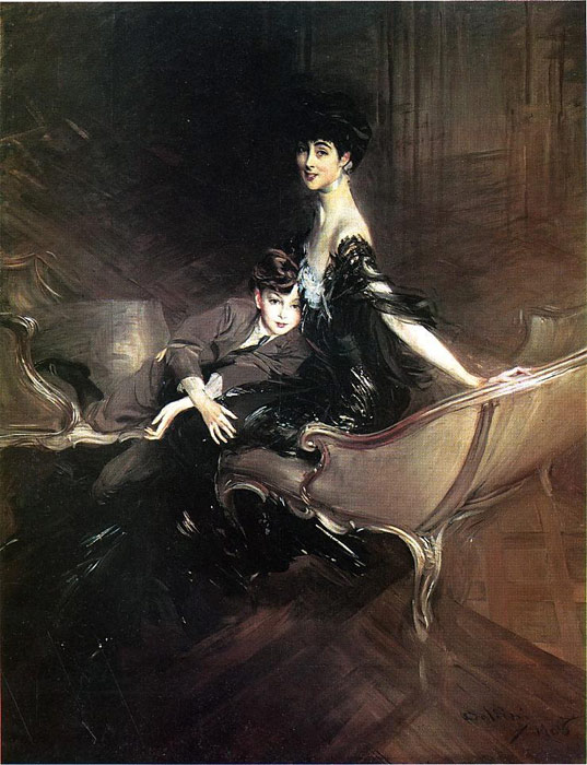 Oil Painting Reproduction of Boldini- Consuelo, Duchess of Marlborough, with Her Son
