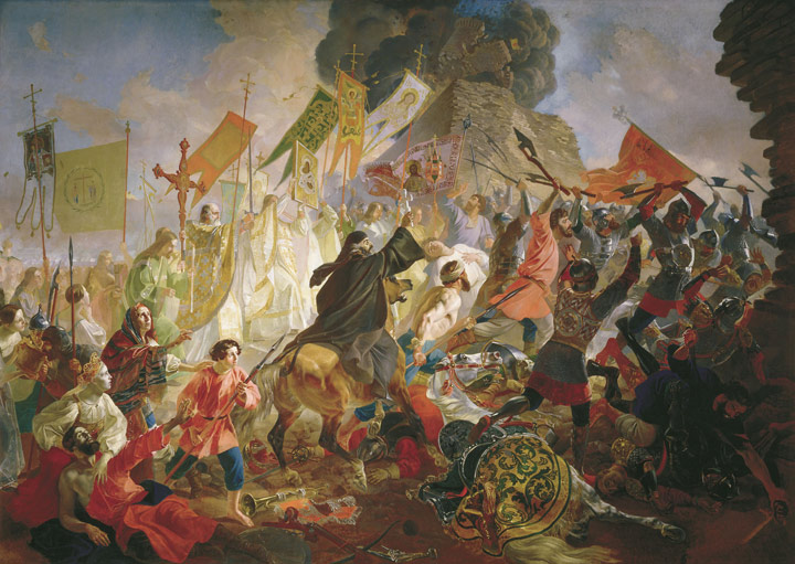 Oil Painting Reproduction of Brullov - The Battle of Polish King Steven Batoriem in 1581