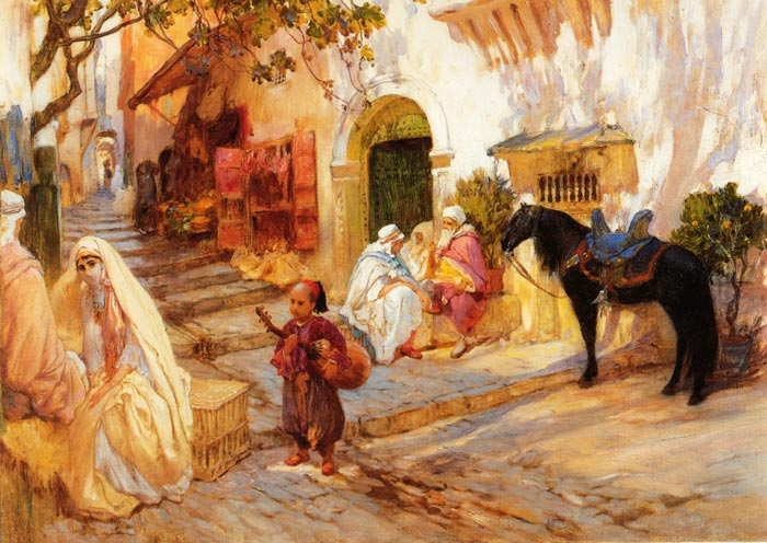 Oil Painting Reproduction of Bridgeman- A Street in Algeria
