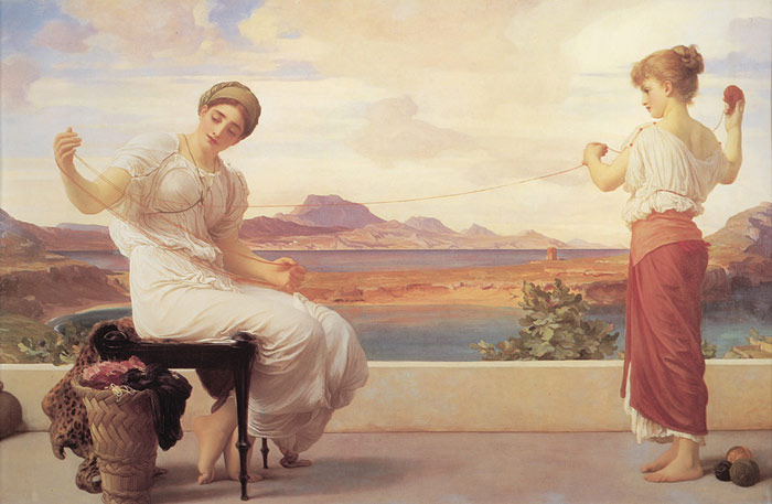 Oil Painting Reproduction of Leighton- Winding the Skein