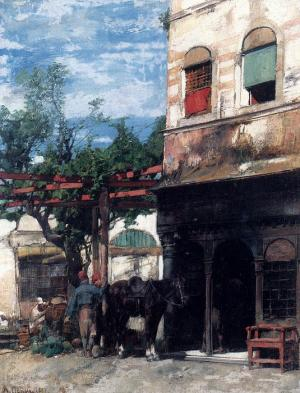 Oil Painting Reproduction of Pasini- In The Courtyard
