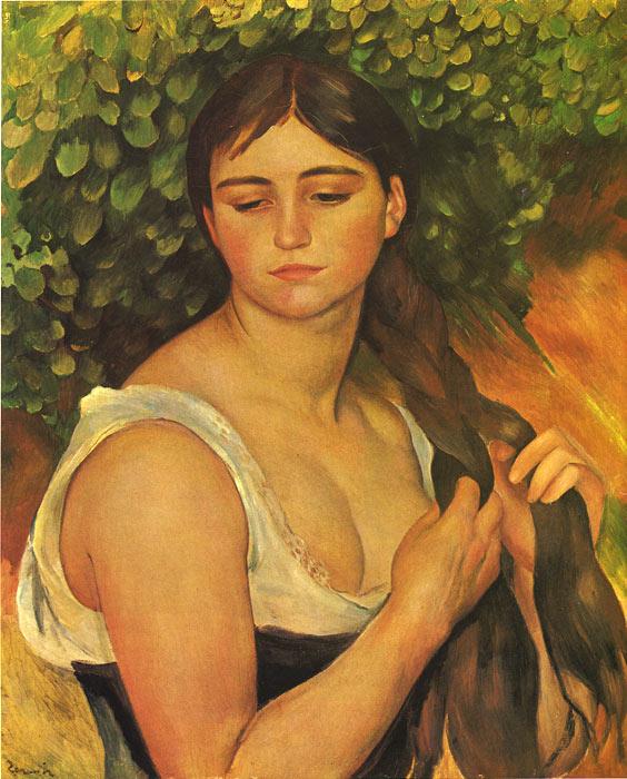 Oil Painting Reproduction of Renoir- Girl Braiding her Hair