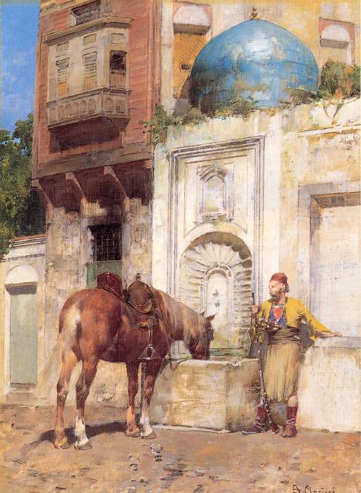 Pasini Oil Painting Reproductions - At the Well