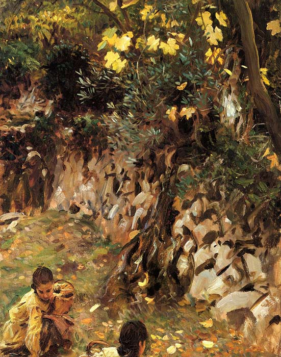 Sargent Oil Painting Reproductions- Gethering Blossoms, Valdemosa