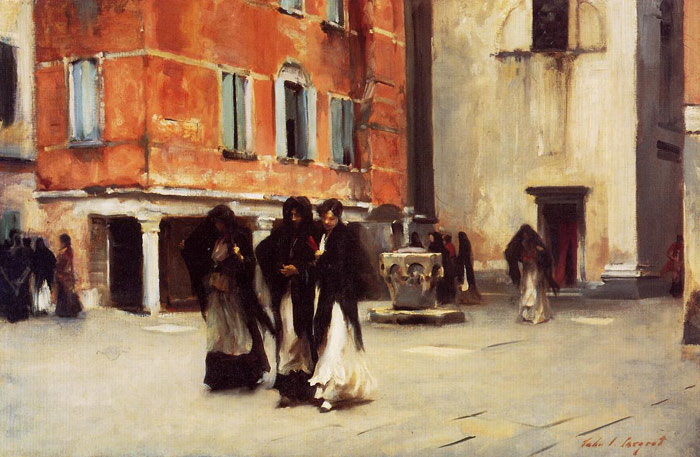 Sargent Oil Painting Reproductions - Leaving Church, Campo San Canciano, Venice