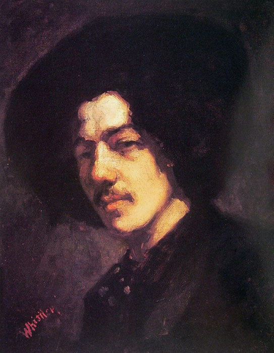 Whistler Oil Painting Reproductions - Portrait of Whistler with Hat