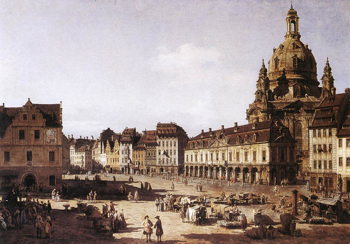 Oil Painting Reproduction of Bellotto - New Market Square in Dresden