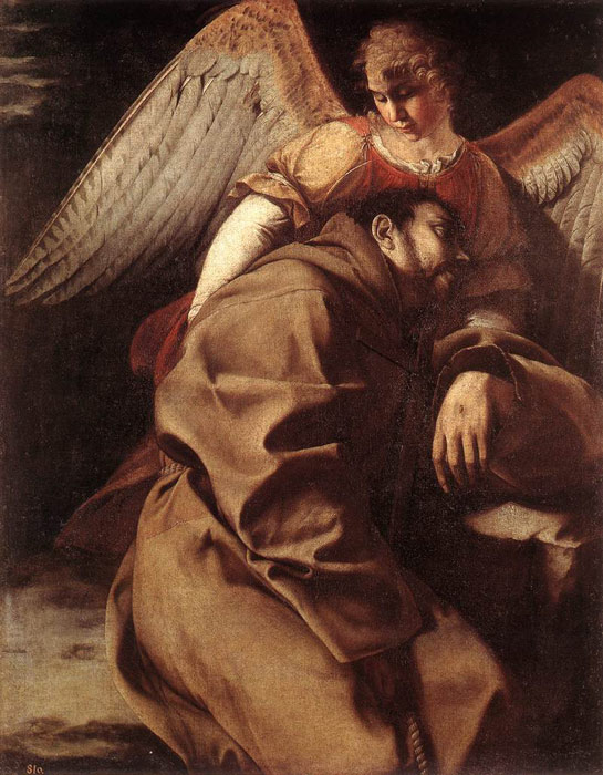 Oil Painting Reproduction of Gentileschi- St Francis Supported by an Angel